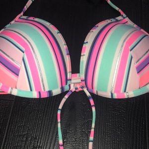 Victoria's Secret Bikini Top 36C Striped Padded